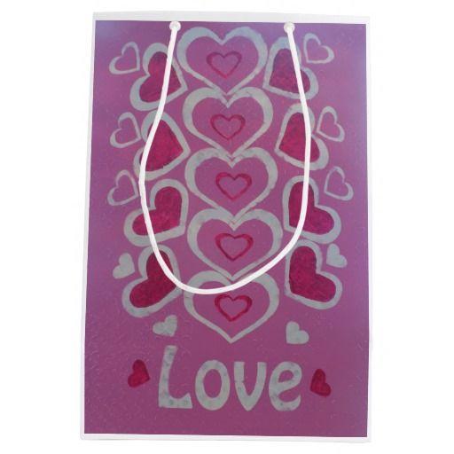 Love Hearts Gift Bag-Medium, Matte