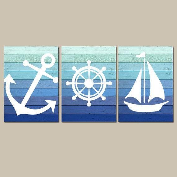 Nautical Wall Art Nautical Bathroom Decor Nautical Nursery
