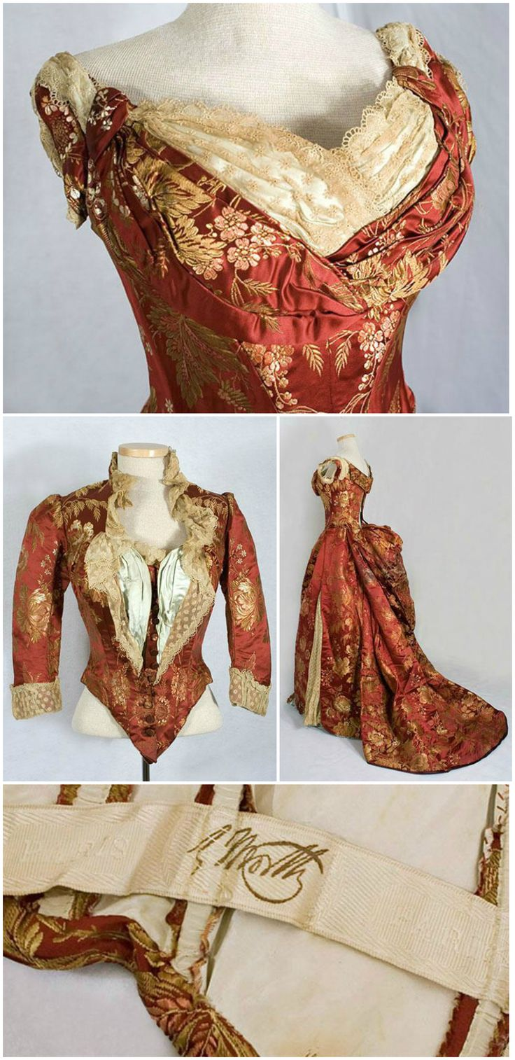 "Bustle gown with ball and dinner bodices, by Charles Frederick Worth, circa 1885. Silk brocade, silk satin, and cotton lace. The fabric has stalks of grain and large blossoms, common motifs in Worth's designs. Acquired by the Phoenix Art Museum Collection in 2007 for the exhibit ""After Dark: 100 Years of the Evening Dress."""