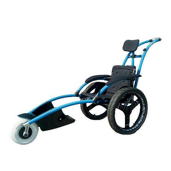 "Imagine exploring rocky mountain paths, sandy beaches, snowy trails, or floating over cool, calming waters securely and independently! This durable, lightweight, compact all-terrain wheelchair is easy to clean and transport. Seat Width: 16 1/2"". Total wheelchair width: 26"".  Clearance: 2"". 285-lb weight capacity. Wt. 33 lbs. Available in: Small, Medium or Large. Features:    • Aluminum and foam-style neoprene frame   • Closed-cell foam seat for water resistan..."