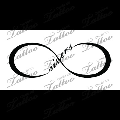 "Sisters Infinity Tattoo | Sisters Infinity (3 connecting ""r"" & ""s"") #53863 