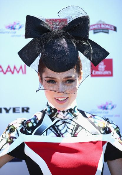 Coco Rocha Wearing Peter Pilotto Farah cape paneled dress with a Nerida Winter hat at Melbourne Cup 2013. #passion4hats