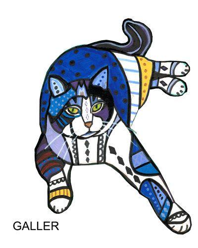Cat Art Folk art  Tabby Cat Poster Print of by HeatherGallerArt, $20.00