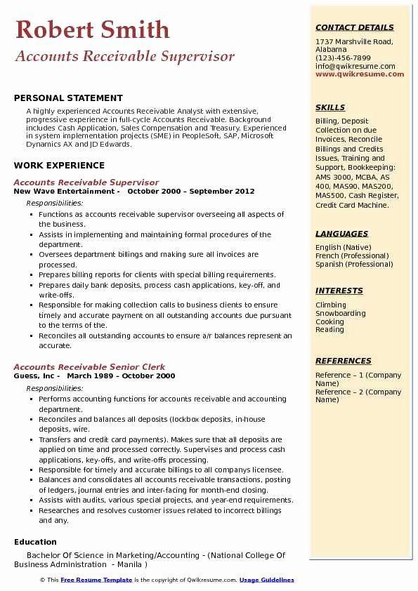 Accounts Receivable Analyst Resume Beautiful Accounts Receivable Supervisor Resume Samples In 2020 Customer Service Resume Job Resume Samples Resume Skills