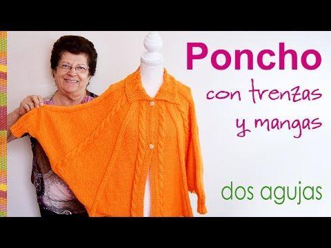 Poncho con mangas tejido en dos agujas para niñas - YouTube