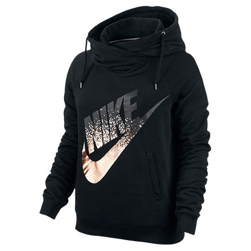 Size Small Women's Nike Rally Funnel Metal Hoodie - 684135 010 | Finish Line