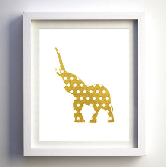 Gold Elephant Wall Decor : Gold foil and white polka dots printable baby nursery