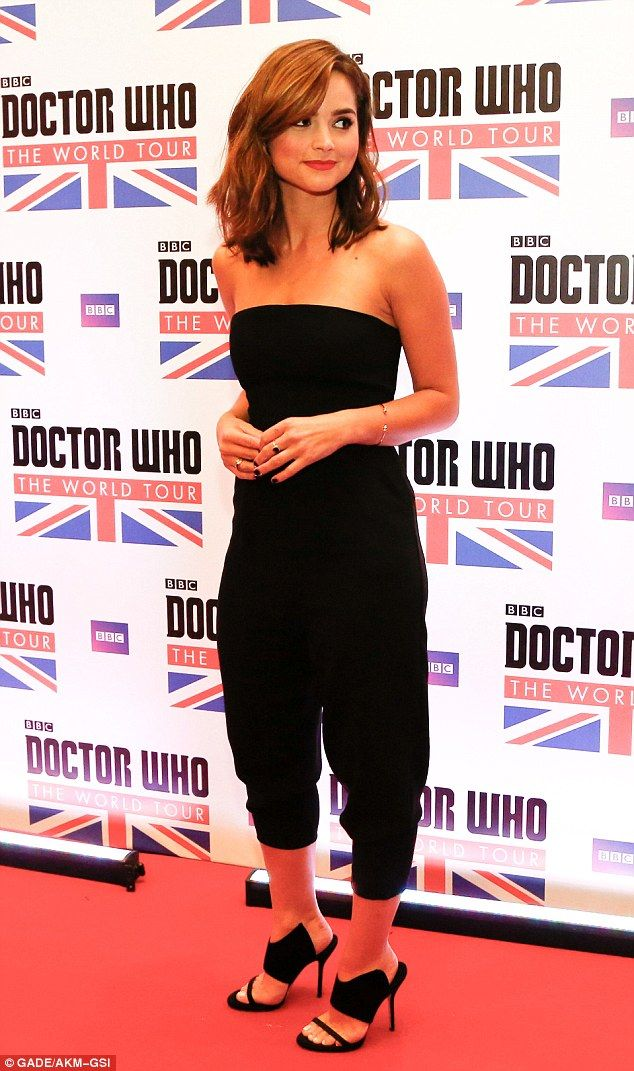 Classic beauty: Jenna Coleman looked stunning in a simple black jumpsuit and mules at the Doctor Who photocall in Rio de Janeiro, Brazil on Monday