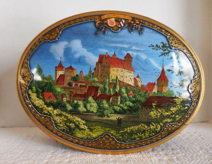 Superb Lebkuchen Schmidt Nurnberg Oval Shaped Cookie Biscuit Tin Countryside Germany