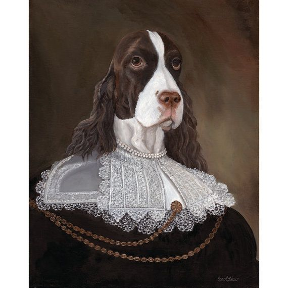 Springer Prints Lady Annabelle English by OldWorldPetPortraits