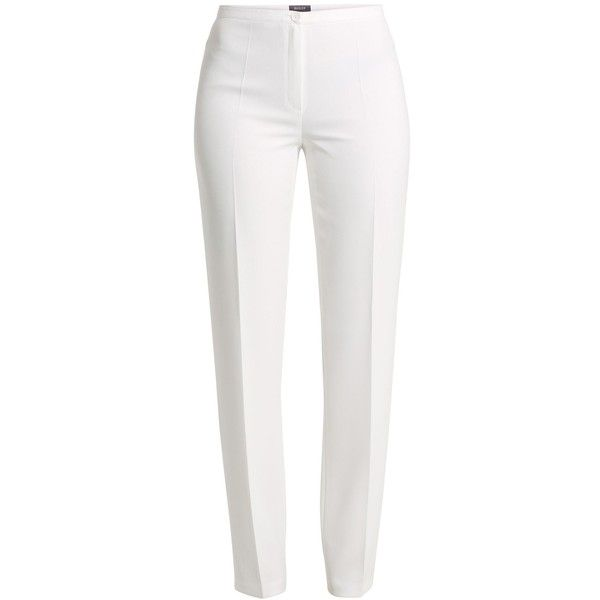 Basler Bella Trouser found on Polyvore featuring pants, bottoms, trousers, calças, white, women, white zipper pants, white cigarette trousers, white cigarette pants and cigarette trousers