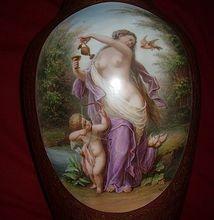 Museum Quality Josef Ahne Antique Victorian Handpainted Vase Nude Bohemian Artist Bristol Glass Spectacular