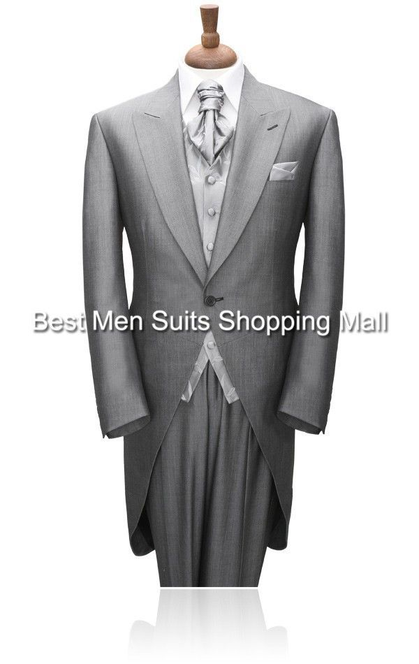 Grey Tailcoat Groom Wedding TUXEDOS,Men,mens suits with pants Groom suit 2015 Long Tail tuxedo(Jacket+PantsVestTie)Prom Clothing