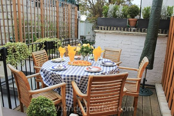 Enjoy dining al fresco on your own private terrace in London.  LondonPerfect.com