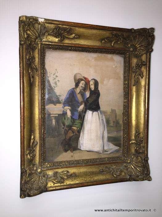 Oggettistica d`epoca - Stampe e dipinti Antica stampa con cornice dorata - Cornice Luigi Filippo con litografia coeva Immagine n°1
