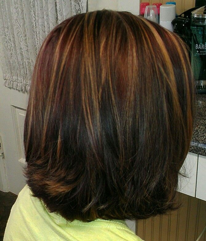 Red With Carmel Highlights And Med Brown Lowlights Hair