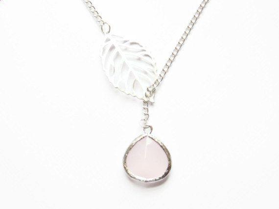 Foglia collana Lariat e rosa lunetta vetro - regalo per mamma, regalo di laurea, regalo per lei, regalo per migliore amica, gioielli di tutt...