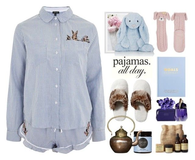 """""""PJs All Day"""" by j477 ❤ liked on Polyvore featuring Topshop, Pottery Barn, Jellycat, kikki.K, Rebecca Minkoff, Thierry Mugler, Monsoon, Moon Juice and SkinCare"""