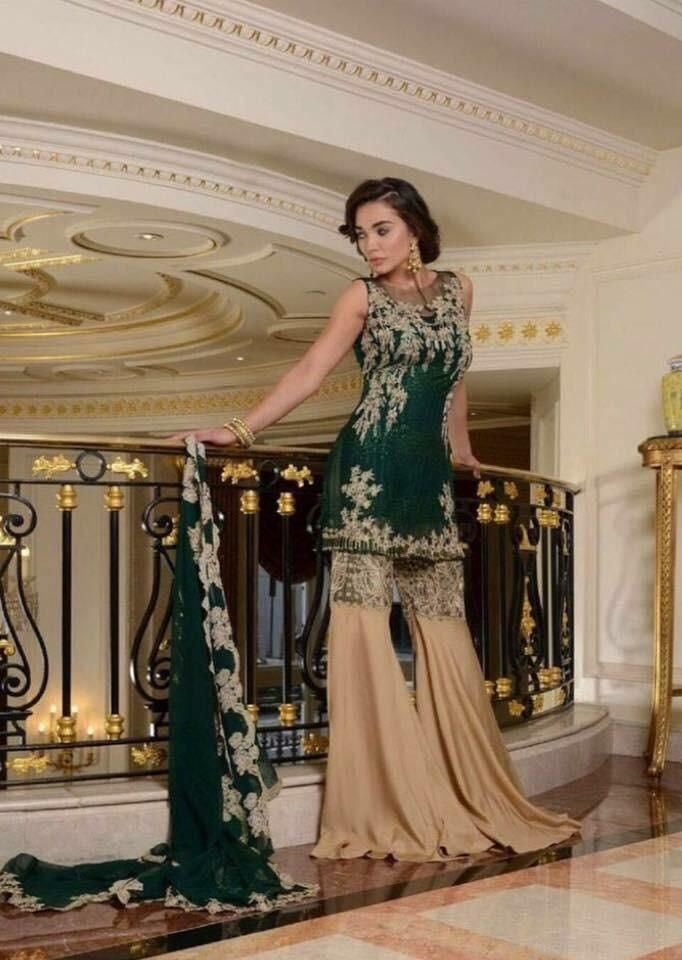 Beautiful Chiffon Hand Made Dress In Dark Bottle Green Color Model C 831 This Product Is Out Of Stock Stani Dresses Pinterest