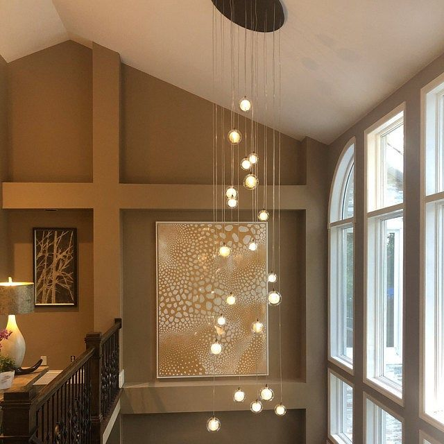 Foyer Two Story Chandelier Reflection Etsy In 2020 Staircase Chandelier Blown Glass Chandelier Blown Glass Lighting