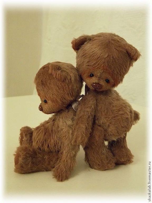 Мо и По (10 см) - коричневый,мишка тедди,мишка ручной работы,авторский мишка