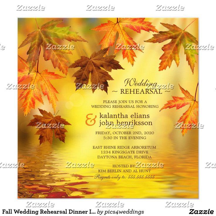 Fall Wedding Rehearsal Dinner Invitation Cards