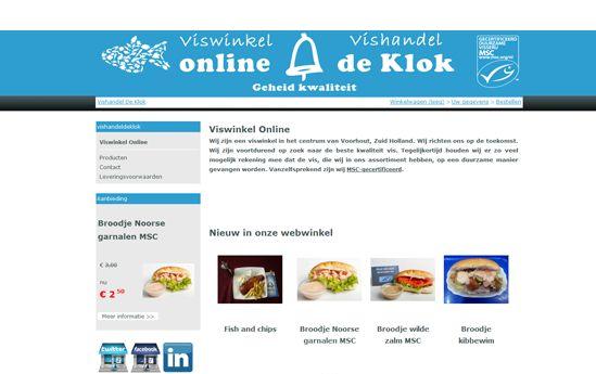 Klant: Vishandel de Klok - Webshop - Voorhout  Opdracht:      Header van de website toevoegen in hun webshop     Kleuren van de website doorvoeren in de webshop     Iconen van Social Media toevoegen in de webshop  Website: www.viswinkelonline.com/