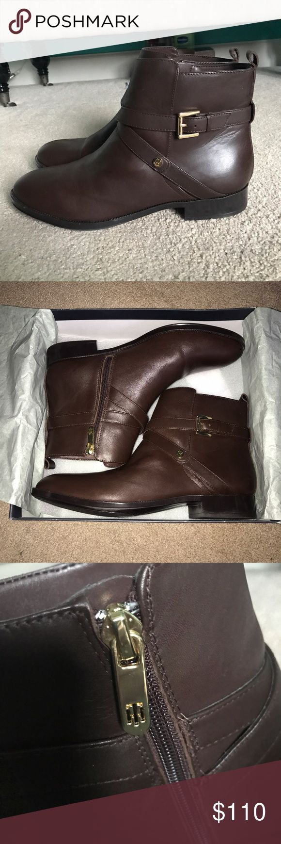 Tommy Hilfiger boots Women's Tommy Hilfiger brown leather boots, brand new, never worn. True to size. Will be shipped without box. Tommy Hilfiger Shoes Ankle Boots & Booties