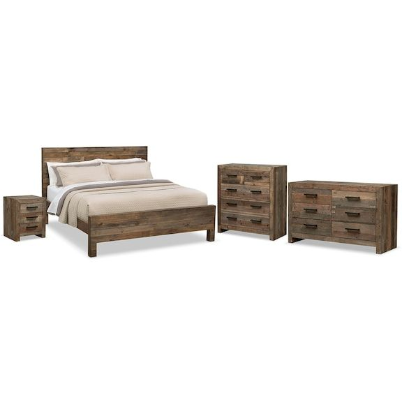 Rancho 6 Piece King Bedroom Set Pine Value City Furniture And