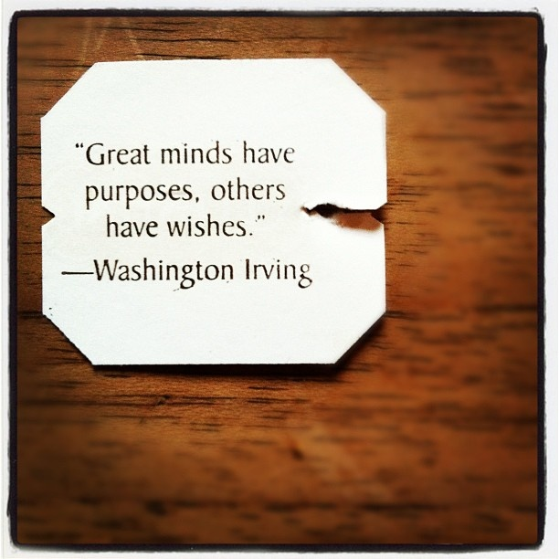 @dennisvansteijn | Quote | Washington Irving | Great minds have purposes, others have wishes