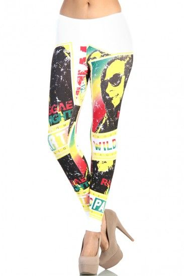 LoveMelrose.com From Harry u0026 Molly   Bob Marley Reggae Nights Leggings - White   Rasta Outfits ...