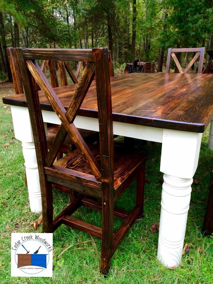 Handmade farmhouse dining set made from reclaimed wood and repurposed porch…