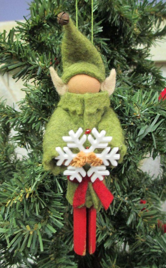Fairytale Ethereal || Clothespin Christmas Elf Ornament