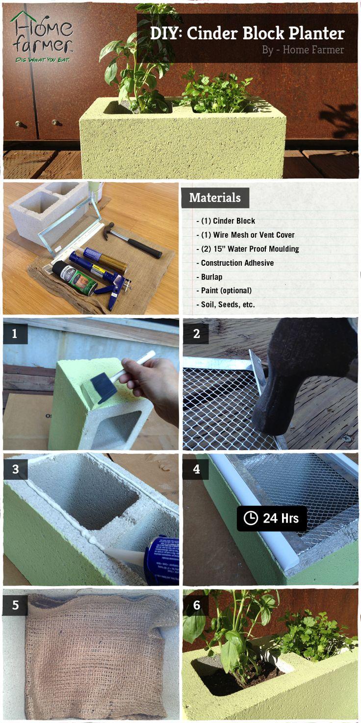 foto tutorial para hacer un macetero con bloque de cemento