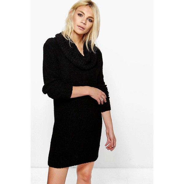 Boohoo Tia Cowl Neck Boucle Soft Knit Jumper Dress ($40) ❤ liked on Polyvore featuring tops, sweaters, black, chunky knit sweater, sequin sleeve sweater, sequined sweaters, knit sweater and short-sleeve turtleneck sweaters