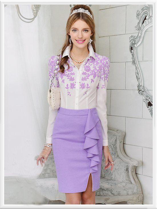 Morpheus Boutique  - Purple Floral Button Down Ruffle Long Sleeve Celebrity Shirt, CA$82.04 (http://www.morpheusboutique.com/purple-floral-button-down-ruffle-long-sleeve-celebrity-shirt/)