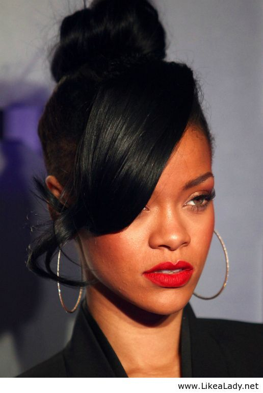 Rihanna High Bun Side Swept Bangs Ponytail Hairstyles
