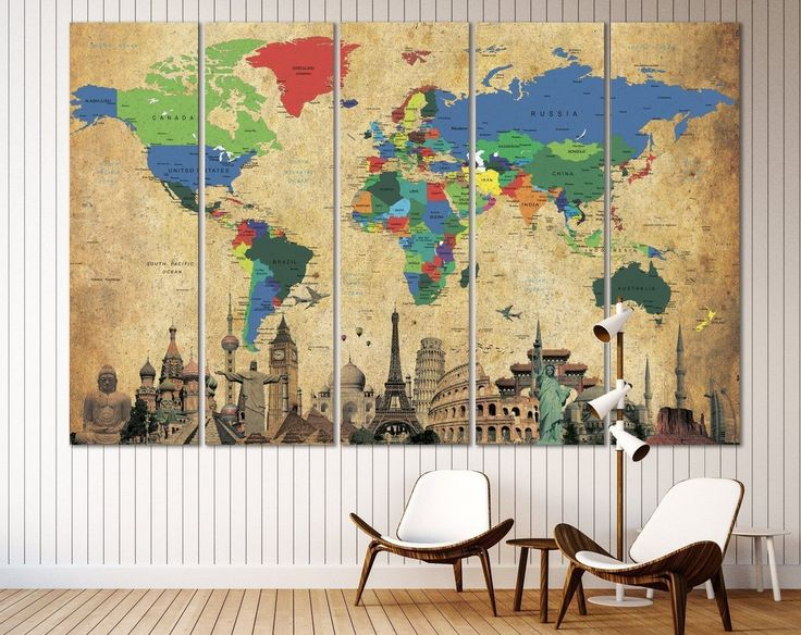 102 best World Map Wall Arts images on Pinterest | Contemporary wall ...