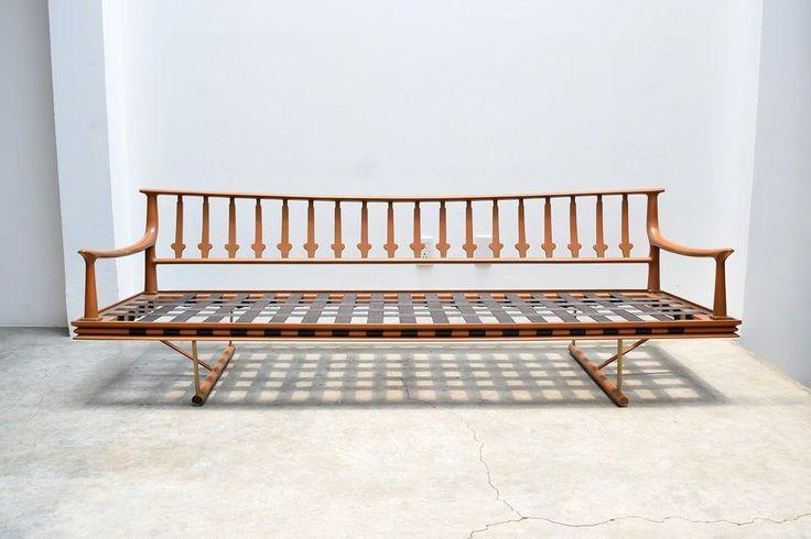 Frank Kyle 3 seater Sofa, ca. 1970 Mahogany Wood and Bronze Hardware