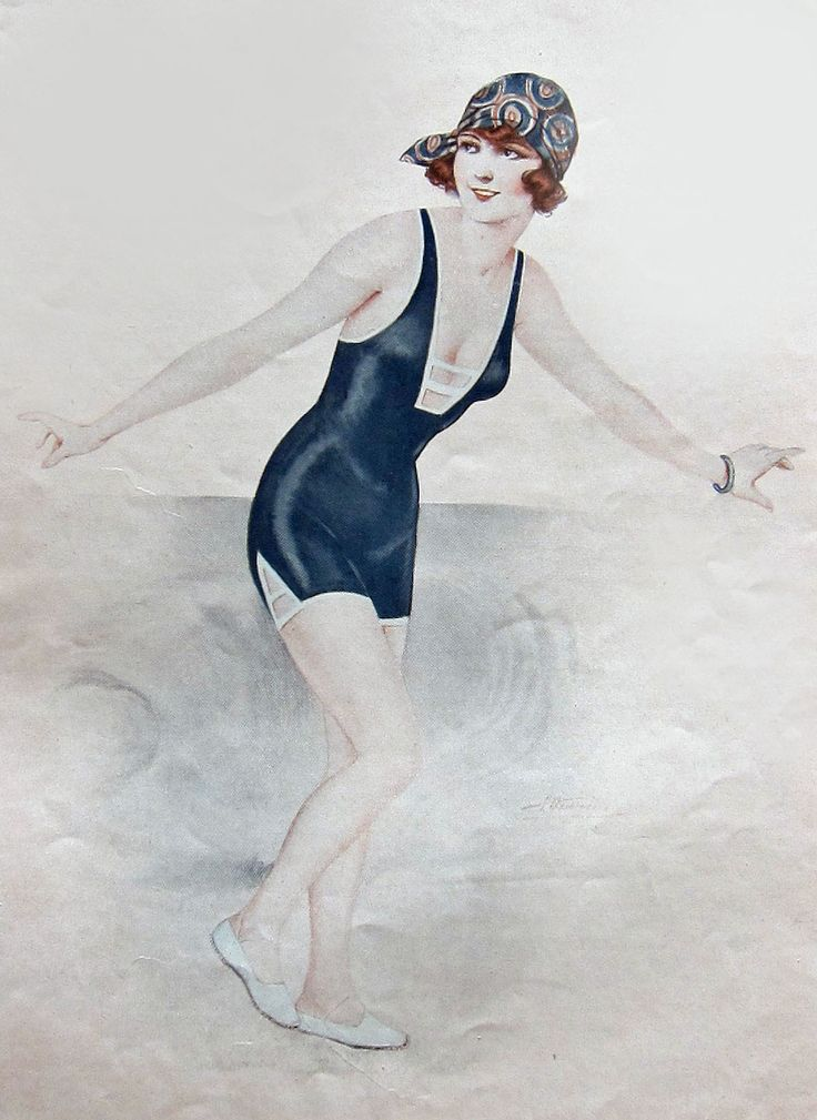 1925 Swimsuit; illustration from Reigen magazine cover.