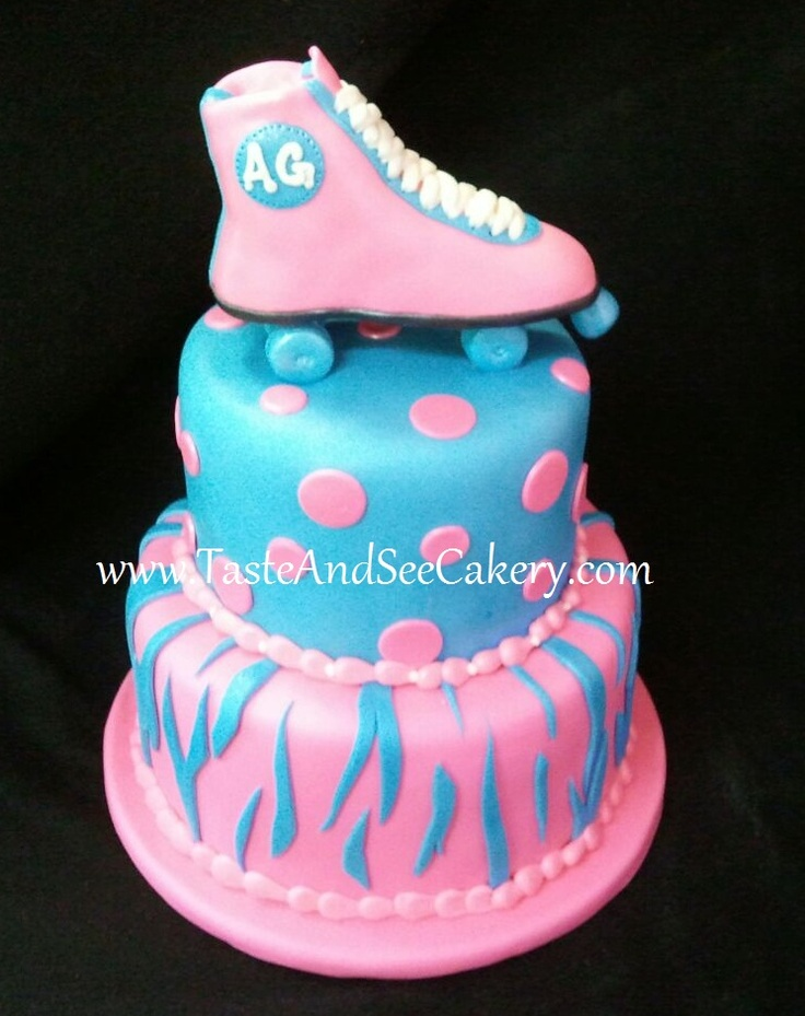 Pink And Blue Roller Skate Cake Cakes Cupcakes