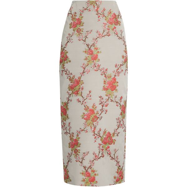 Brock Collection Snow blossom-jacquard pencil skirt ($1,290) ❤ liked on Polyvore featuring skirts, pink multi, calf length skirts, jacquard pencil skirt, jacquard skirt, pink skirt and flower midi skirt