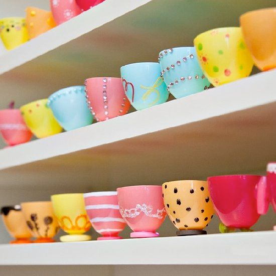 What to do with all those left over plastic Easter eggs? Make teacups! It's fun and easy. It's a great craft project with kids.
