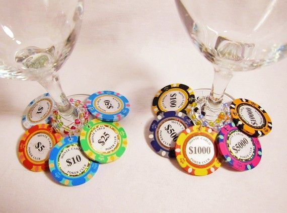 Casino Party - Table decorations: Wine Charms, Poker Chips, Rainbows Colors, Money Poker, Clay Rainbows, Parties Ideas, Chips Wine, Casino Parties, Colors Poker