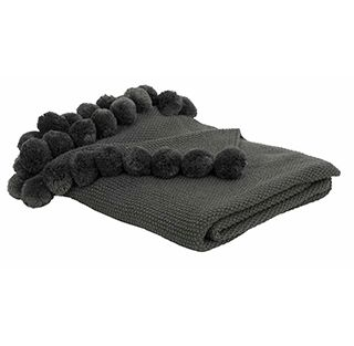 Charcoal pom pom throw / soft blanket with cute pom pom tassels / dark grey throw / brisbane designer decor