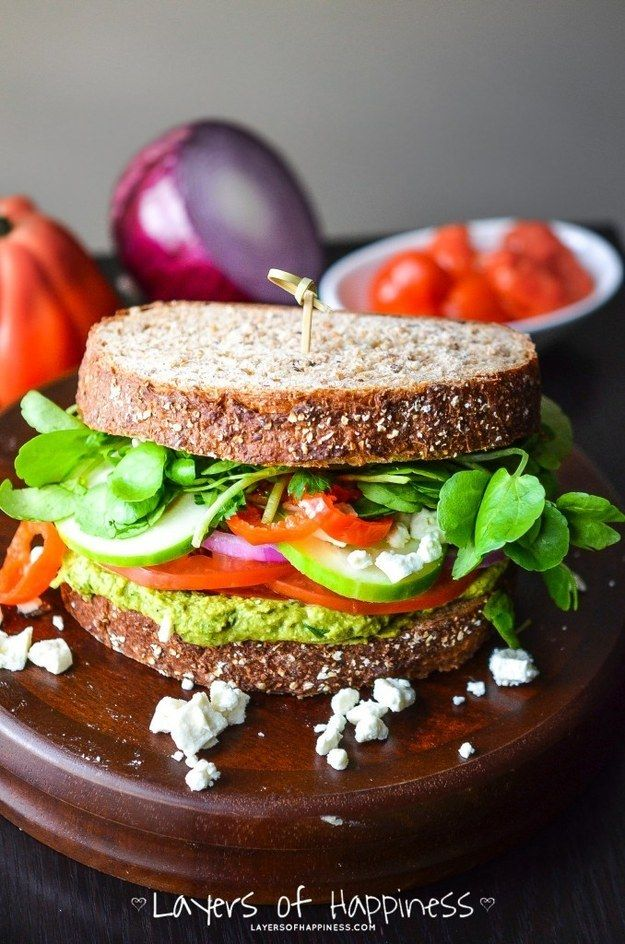 Loaded Mediterranean Veggie Sandwich