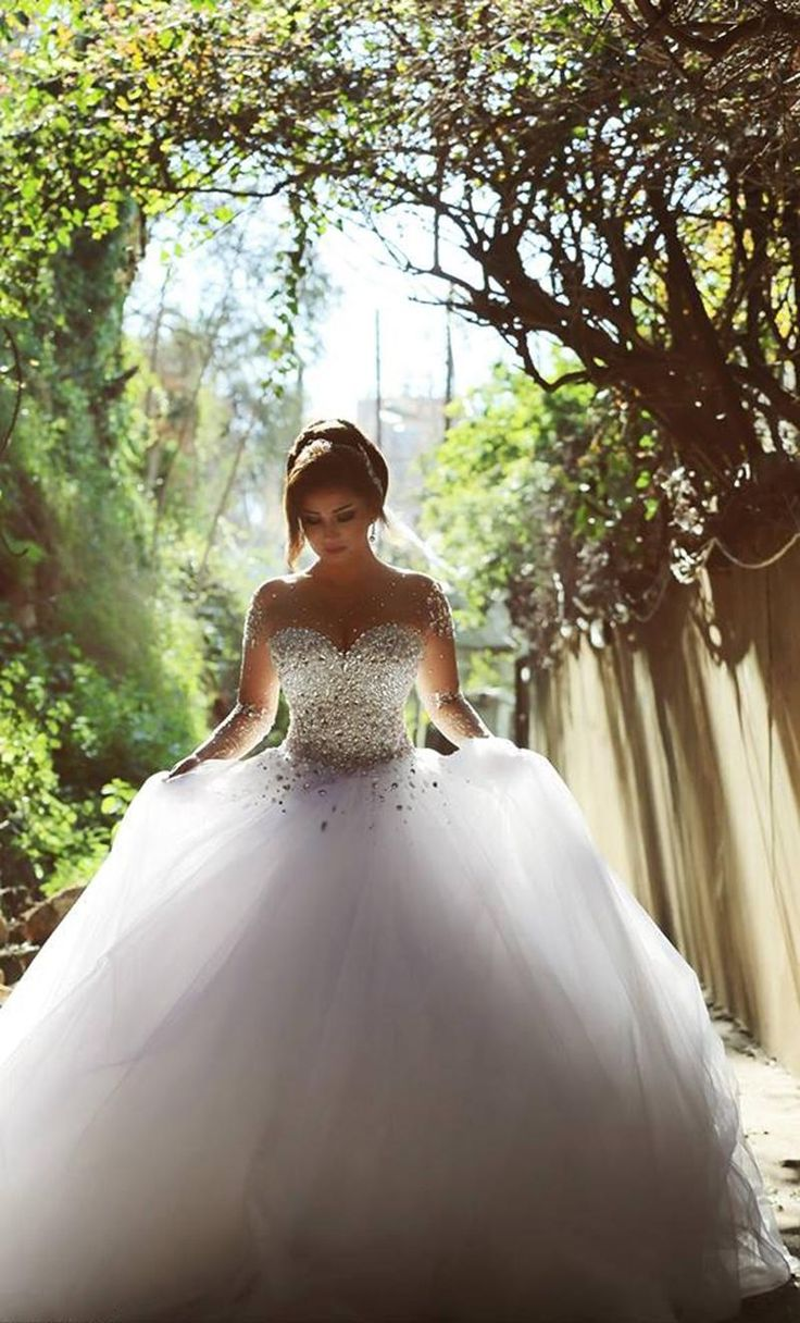 2015 Hot Sale Wedding Dresses Ball Gown Sheer Jewel Neckline Long Sleeve Crystal Rhinestone Beaded Sequins Pearls Plus Size Wedding Dresses