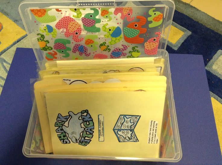 I keep the folder games in a container so they are easy accessible for the kids.