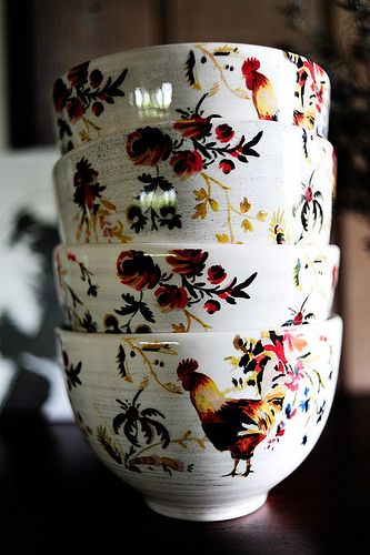 Rooster Francais Cereal Bowls made exclusively for Williams-Sonoma by artist Marc Lacaze.