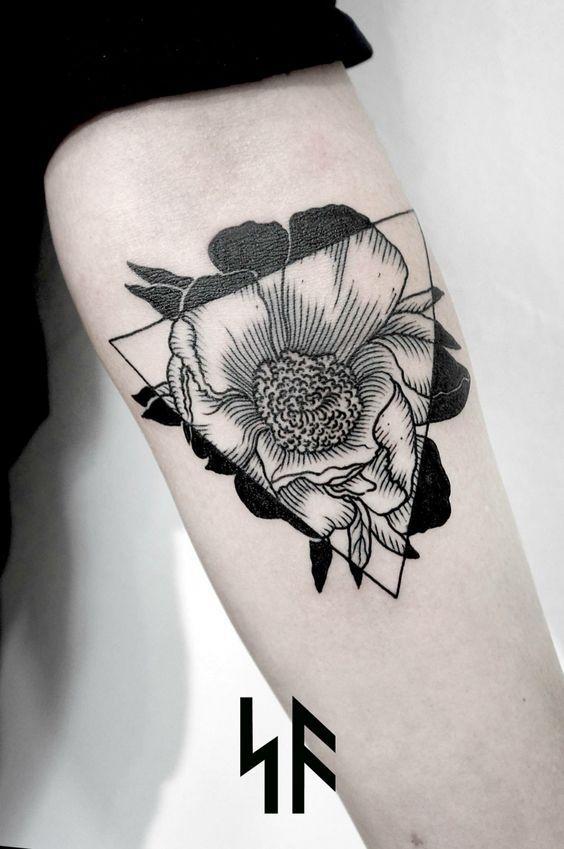 roma severov flower nature botanical geometric tattoo - Google Search